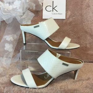 Calvin Klein White Leather Sandals- Cecily